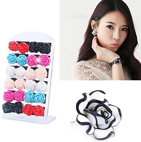 Harva Hot Selling Fashion Luxury Black White Rose Flower Earrings Elegant Cute Women Lady Girls Stud Earrings Jewelry Gift #65744