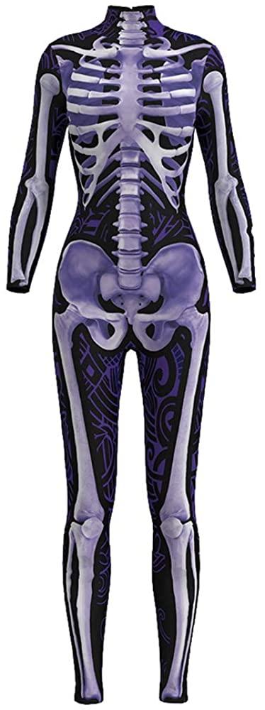 URVIP Women's Skull Halloween Costume Skeleton 3D Print Bodycon Catsuit Jumpsuit