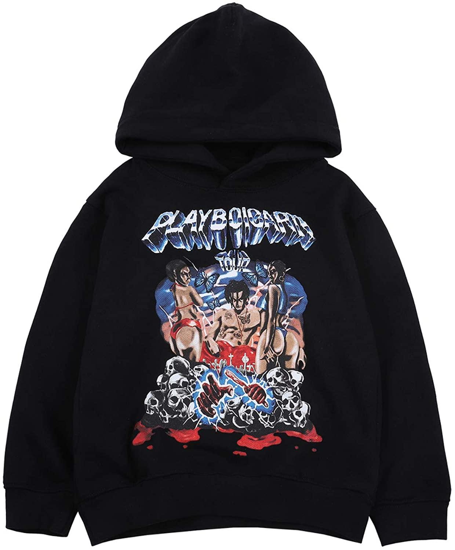 NAGRI Playboi Carti Hoodie Youth Pullover Sweatshirt Long Sleeve Print Hoodie for Boys and Girls