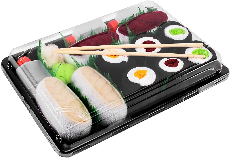 Rainbow Socks - Men's Women's - Sushi Socks Box Butterfish Tuna Maki - 5 Pairs
