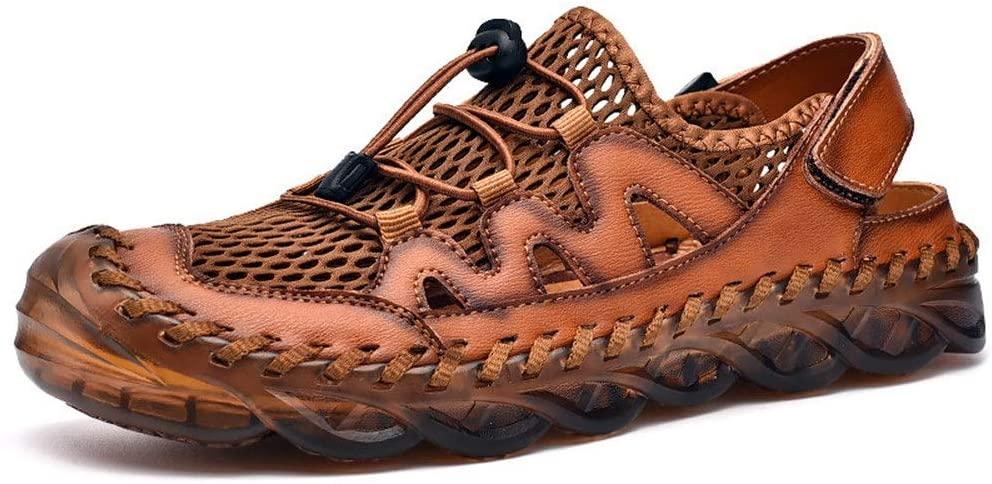 Men's Outdoor Sandals Men's Baotou Sandals Casual Breathable Beach Hole Large Size Dual-Purpose Shoes Brown Waterproof Beach Sandals (Color : Brown, Size : 40)