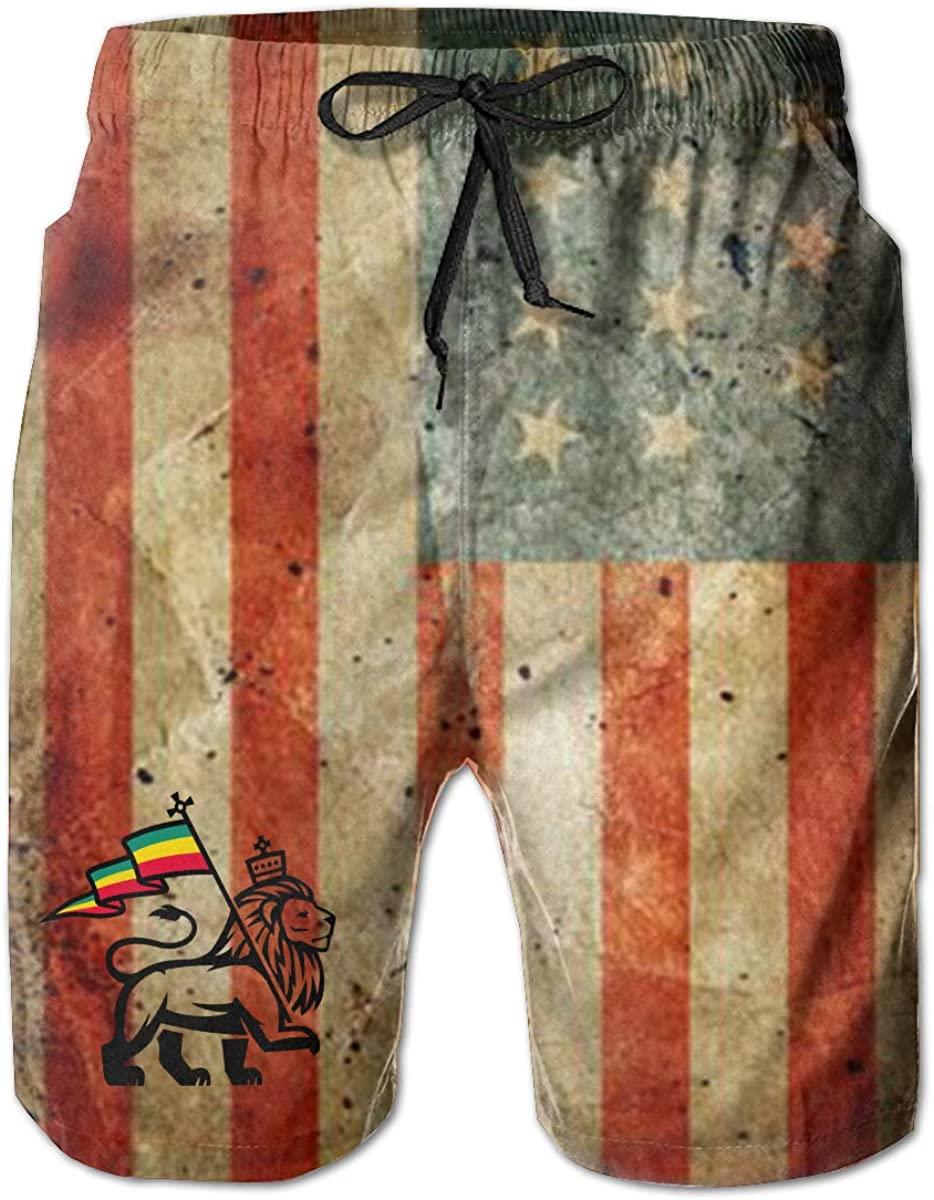 Mecoolid Rasta Lion Judah Man Summer Beach Shorts,Casual ShortsBeach Shorts Quick Dry Short