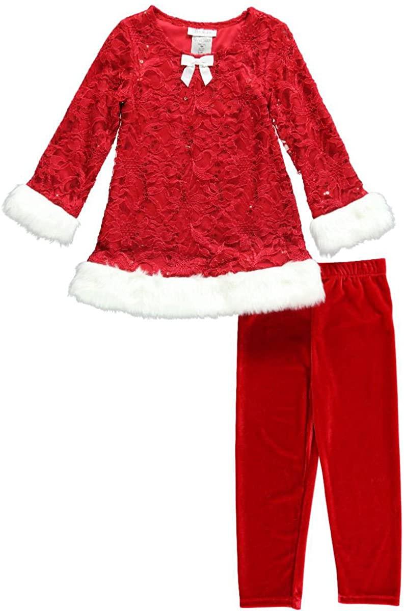 Bonnie Jean Girls 2T - 4T Red Christmas Lace Velvet Santa Dress Legging Outfit