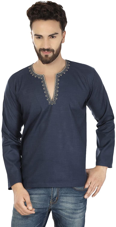 Maple Clothing Embroidered Fashion Shirt Men's Short Kurta Cotton Indian Clothing
