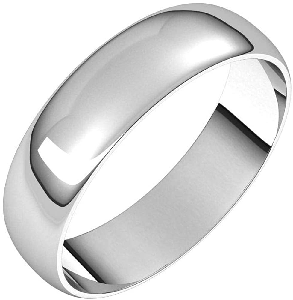 Tarnish Resistant Solid 925 Sterling Silver 5mm Half Round Ultra-Light Wedding Band Size 10