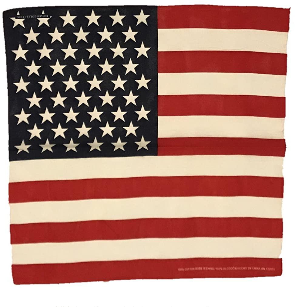 Paisley One Dozen Cowboy Bandanas (One Size, USA Flag)
