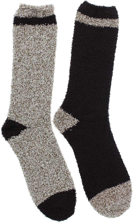 Beverly Hills Polo Club Men's Thick Fuzzy Slipper Socks (2Pr), One Size
