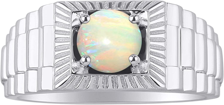 RYLOS Gorgeous 7MM Round Shape Gemstone Ring Color Stone Set in 14K White Gold - Designer Style Birthstone Rings
