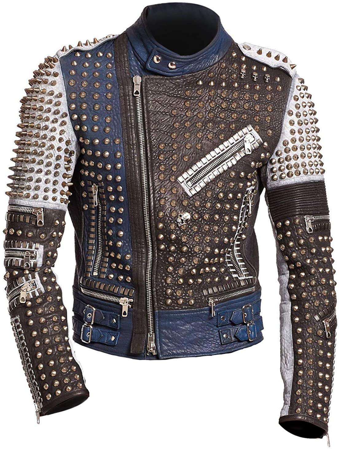 Mens Cafe Racer Funky Rider Studded Punk Retro Motorcycle Leather Jacket