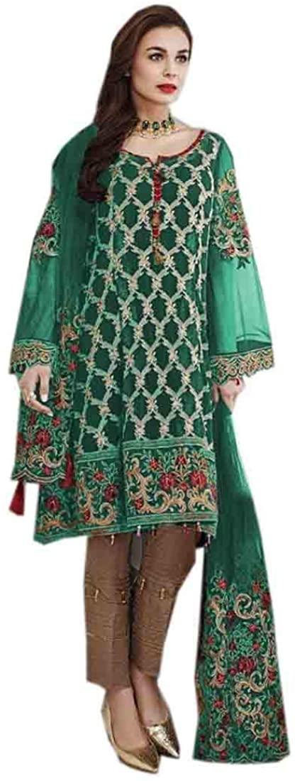 Green Eid Uljha Muslim Embroidery Georgette Pant Salwar Kameez Indian Dress 9884B
