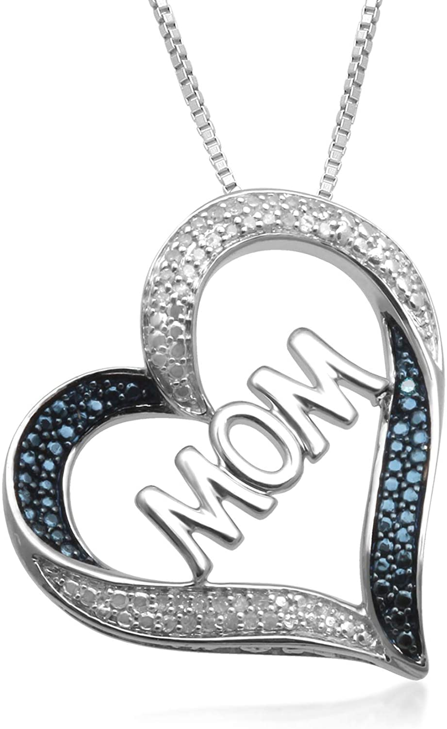 Jewelii Sterling Silver 1/10cttw Blue and White Diamond MOM Cut Out Tilted Heart Pendant Necklace, 18 Box Chain