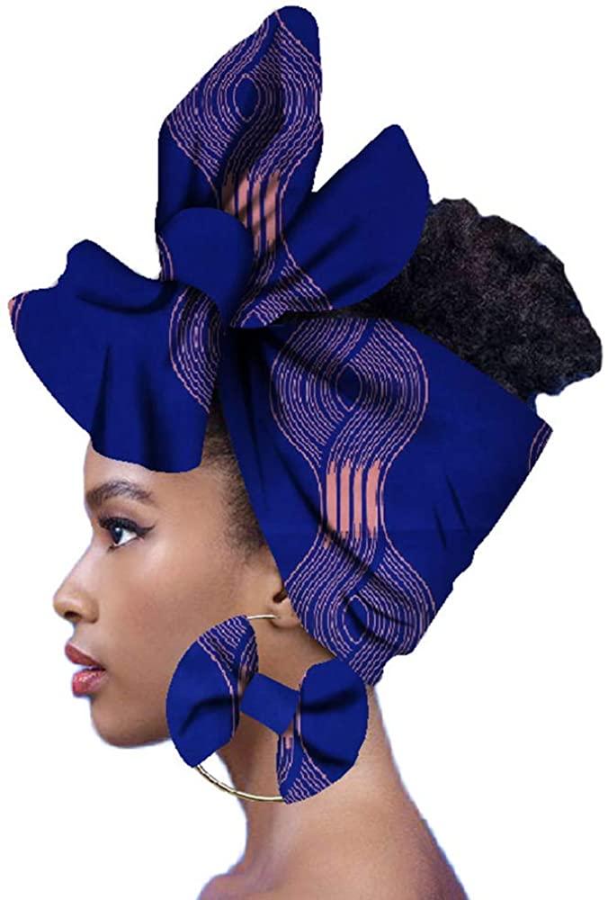 Womens Fashion African Turban Headwrap Ankara Party Self Tied Hair Scarf