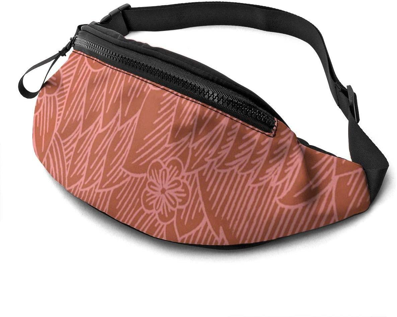 Dagobert Peche Flowers Fanny Pack For Men Women Waist Pack Bag With Headphone Jack And Zipper Pockets Adjustable Straps