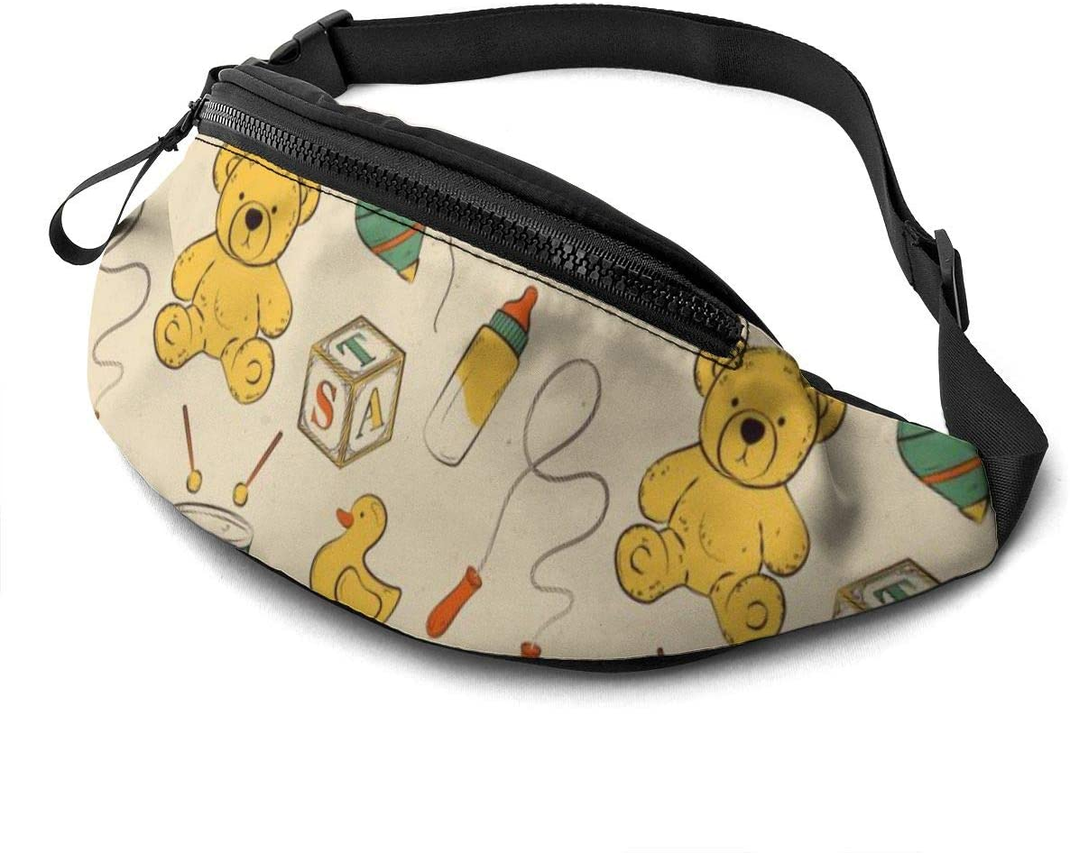 Vintage Pattern With Baby Toys Fanny Pack For Men Women Waist Pack Bag With Headphone Jack And Zipper Pockets Adjustable Straps