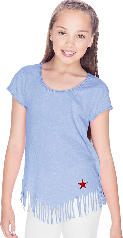 Buy Cool Shirts Red Star Patch Bottom Print Girls Fringe Shirt