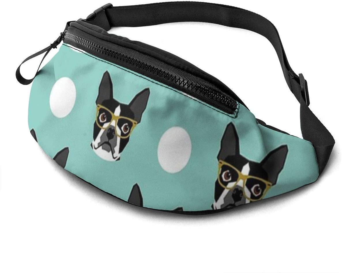 Boston Terrier Portable Storage Fanny Pack For Men Women Waist Pack Bag With Headphone Jack And Zipper Pockets Adjustable Straps