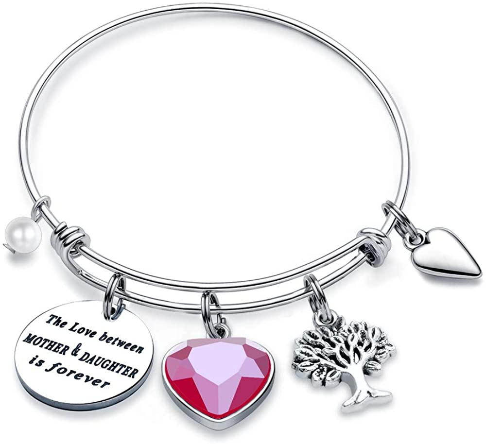 Hidepoo Mother Daughter Gifts for Women Girls, Stainless Steel Quote Family Tree of Life Birthstone Charm Bracelet Mom Gifts from Daughter Mothers Day Bracelet Jewelry for Women Girls