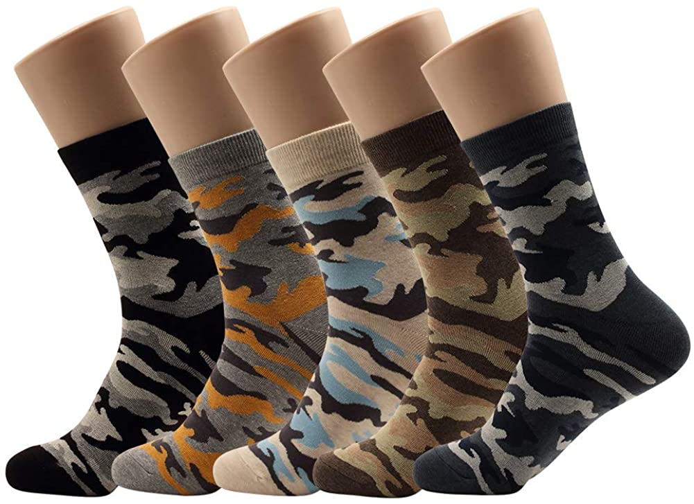Men Camouflage Crew Socks Novelty Military Look Design Fun Crazy Fine Cotton 5 Pairs