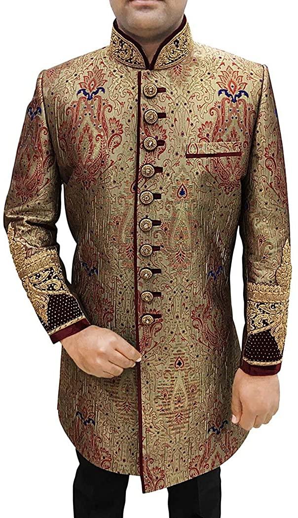INMONARCH Indian Wedding Clothes for Men Bronze Sherwani Indowestern Embroidered IN597