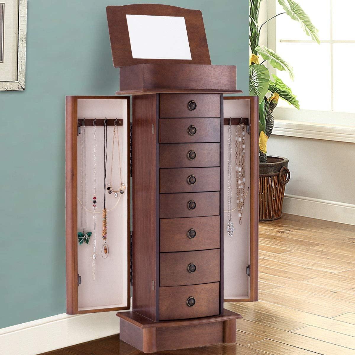 Salekraft Wood Armoire Storage Chest Box Stand Jewelry Cabinet