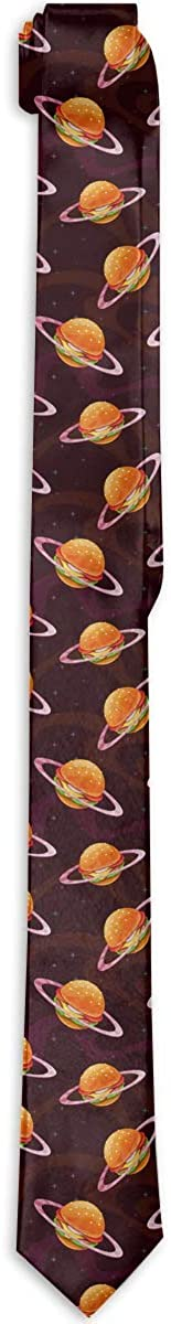 Men's Tie Fantasy Cartoon Burger Planet Galaxy Universe Fashion Silk Skinny Ties Personalized Gift Neckties