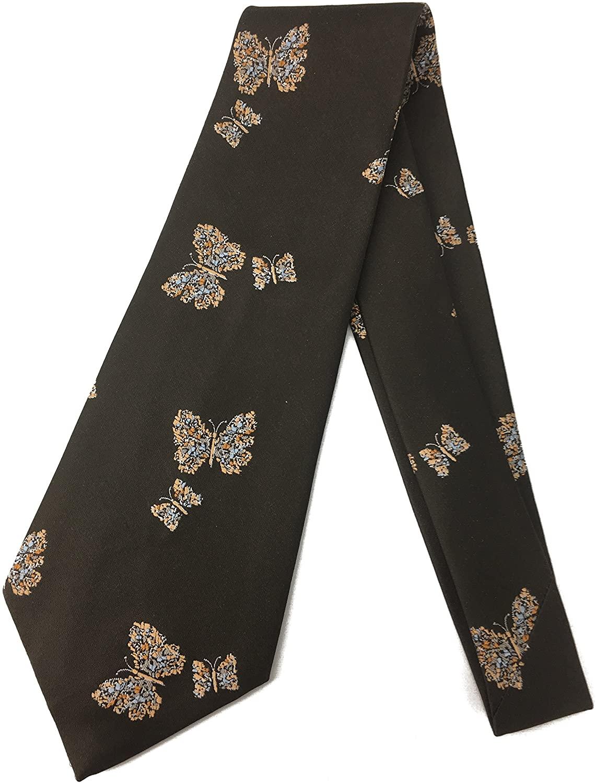 Brown Butterfly Vintage Necktie - Jacquard Weave Wide Kipper Necktie - Dark