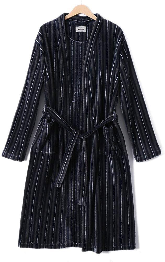 AOEMQ Men's Fleece Warm Bathrobe Stripes Long Robe with Sashes