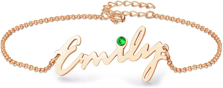 URONE Personalized Name Bracelet Sterling Silver Custom Initial Bar Bracelet Birthstone Jewelry for Women Girls