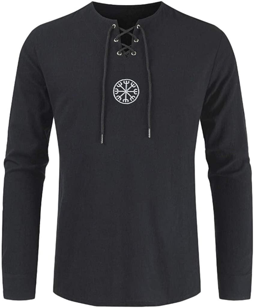 HDGTSA Men's Fashion Henley Shirt Cotton Linen Solid Long Sleeve Drawsting Tops Blouses
