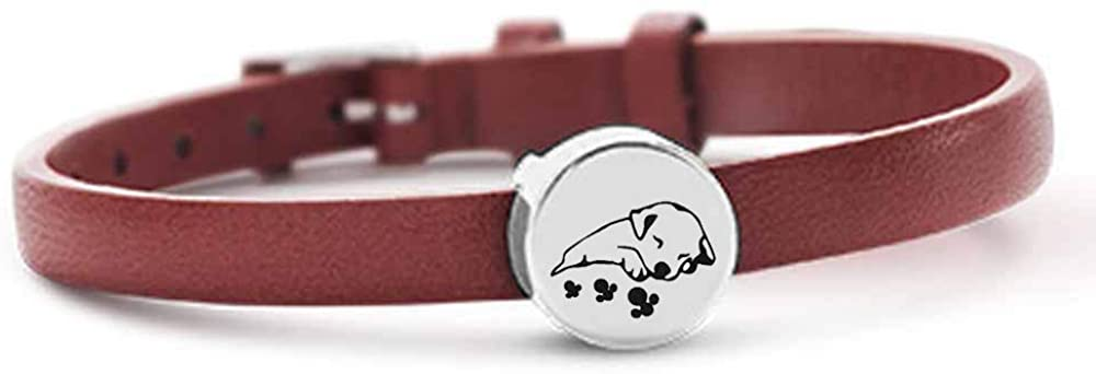 Cremation Urn Bangle for Ashes Keepsake Memorial Stainless Steel Sleeping puppy shape Ashes Bracelet Keepsake Holder Jewelry