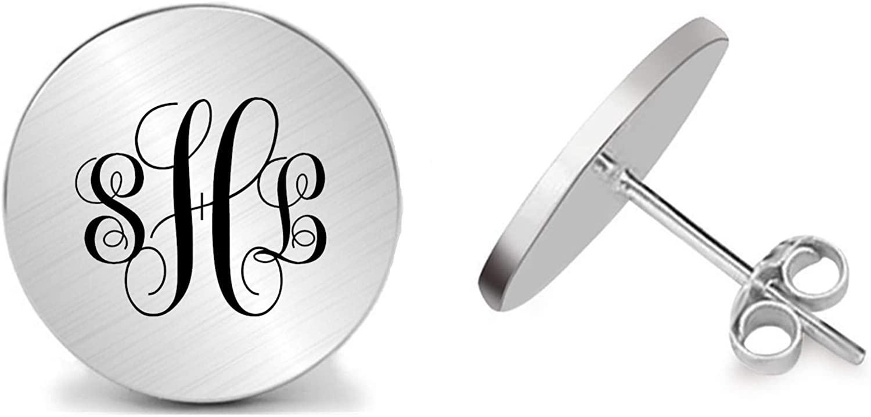 Kooer Monogram Initials Sutd Earrings Handmade Custom Personalized Wedding Stud Earrings Monogrammed Jewelry Gift for Men Women Girl Sister Mother Grandmother Daughter