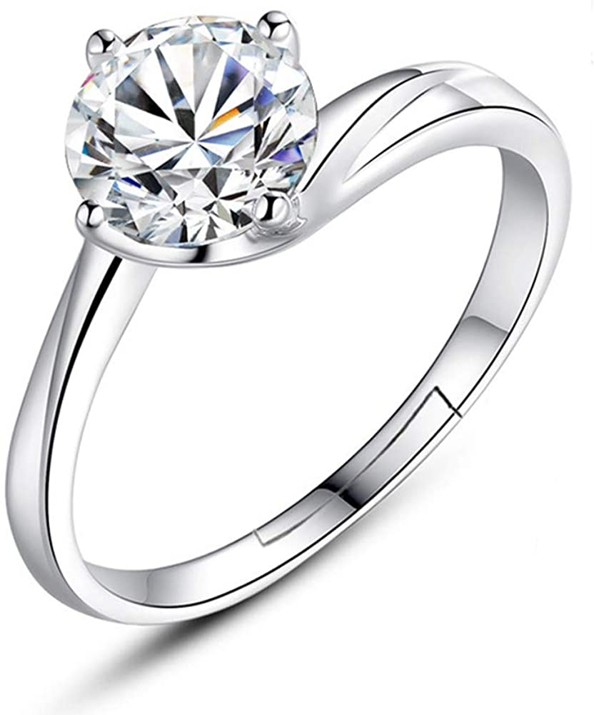 YAZILIND S925 Silver Plated Adjustable Open Ring Elegant Cubic Zirconia Women Girls Wedding Engagement Party Jewelry Gift