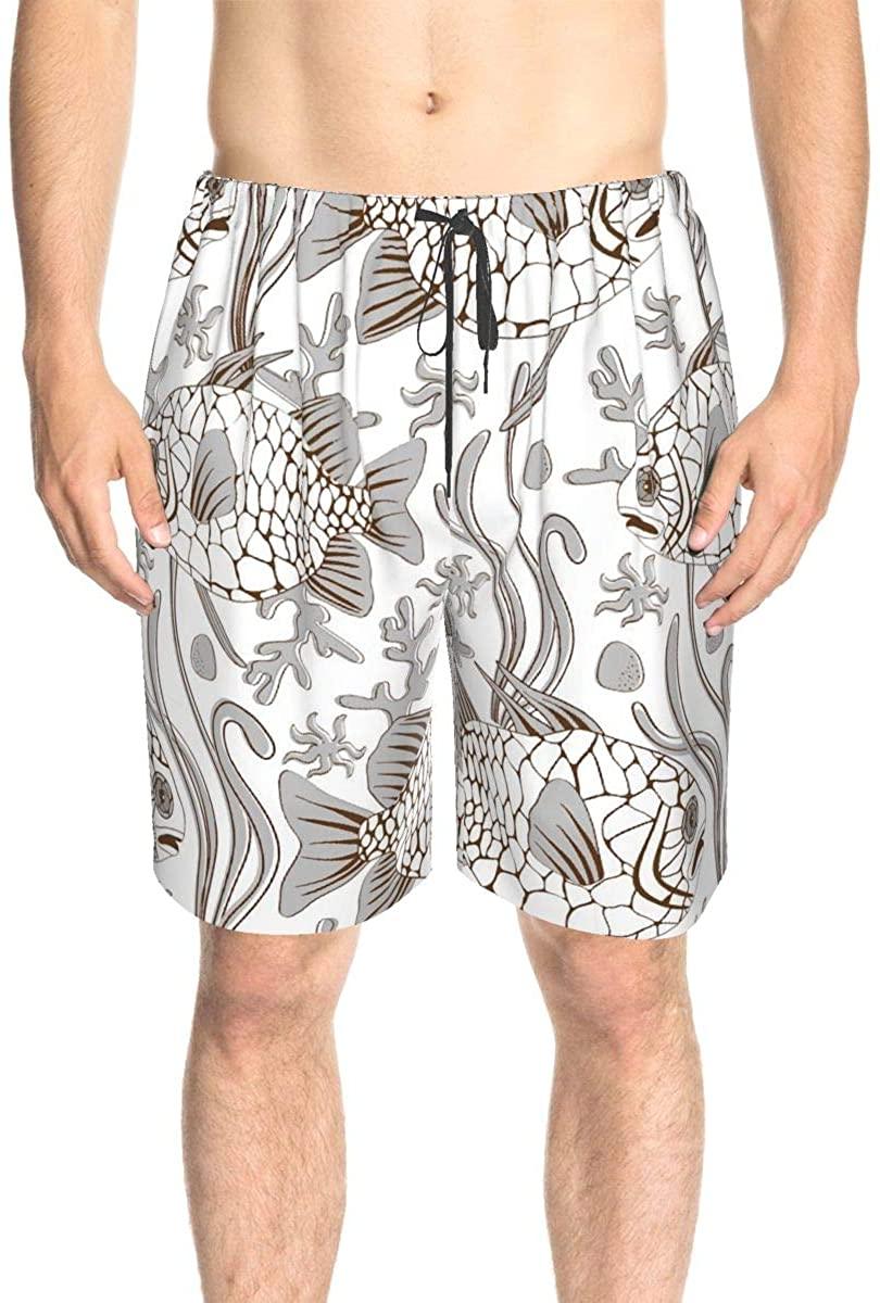 Bomini Men's Swim Trunks Male Swimtrunks Swimwear Fish Draw Drawstring Elastic Waist Surfing Beach Summer with Pockets