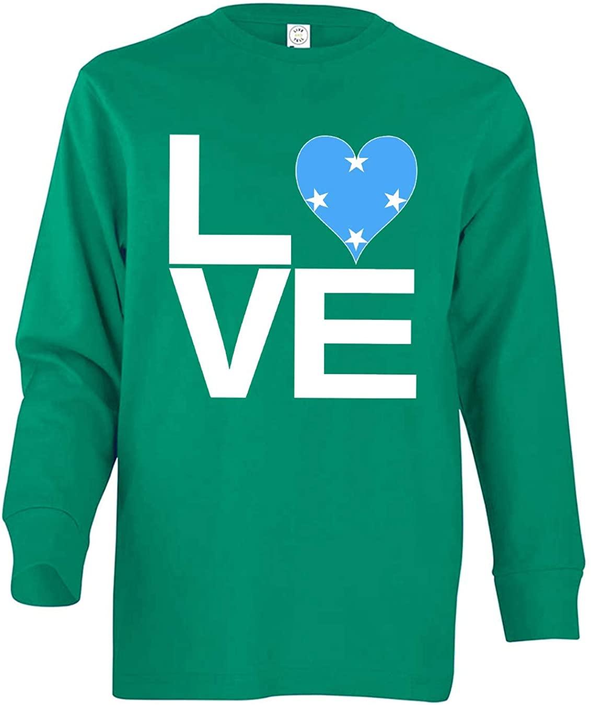 Tenacitee Girl's Youth Love Block Micronesia Heart Long Sleeve T-Shirt