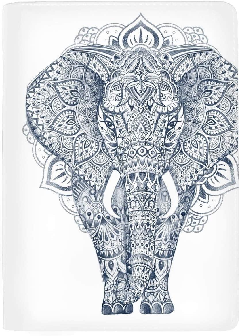 RFID Blocking Passport Holder (5 Slots), Theft Proof Leather Wallet for Men & Women –Illustration Drawing Elephant