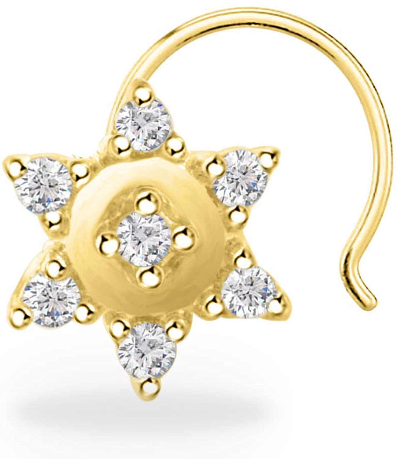 Trendzjewels 0.20 Ct Created Round Cut White Diamond 925 Sterling Silver 14K Yellow Gold Finish Star Shape Nose Pin for Women's & Girl's