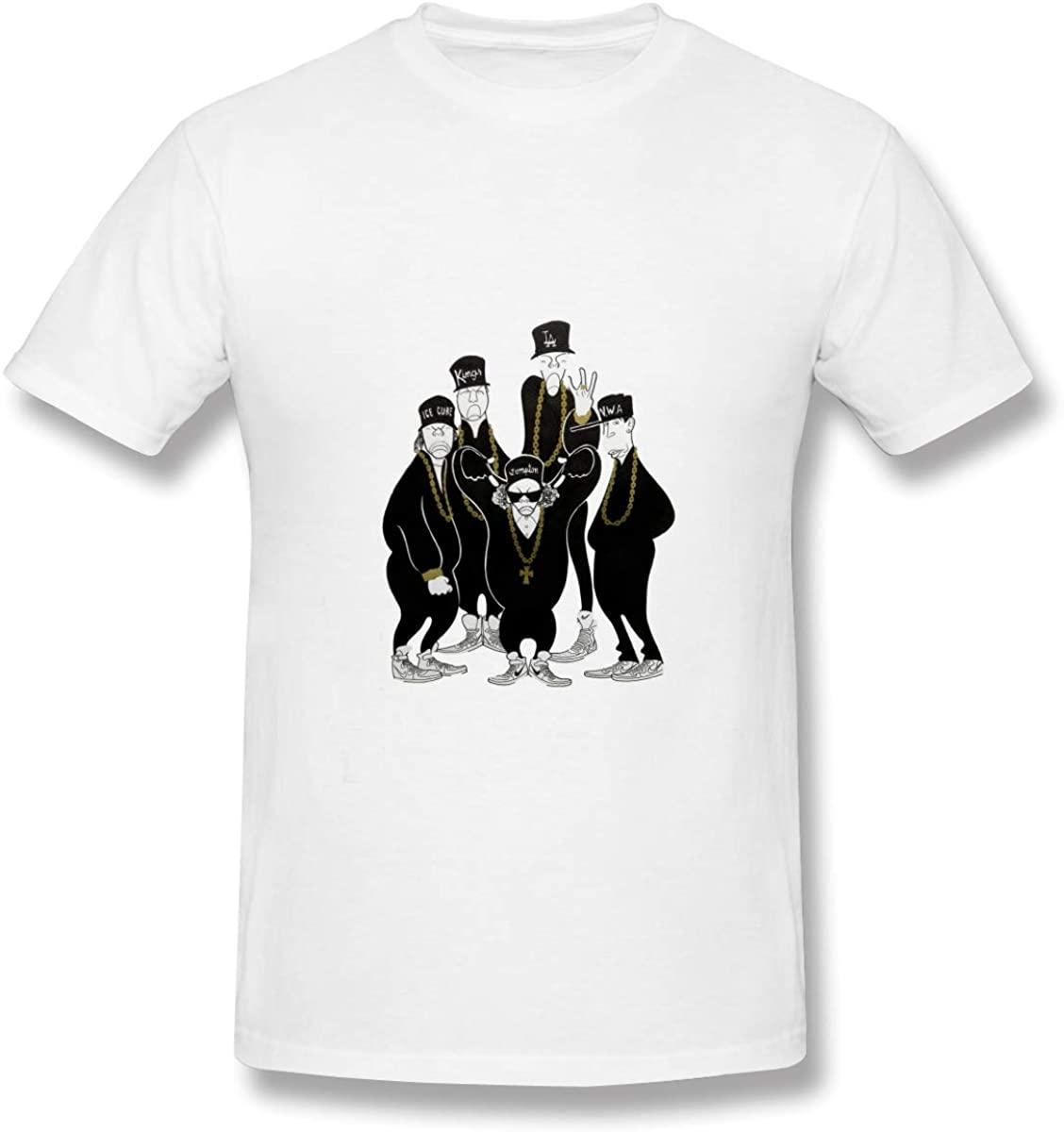 Hbokink NWA Mens Athletic Mens Cotton Short Sleeve T-Shirt White
