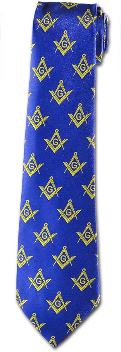 Square & Compass Masonic Neck Tie - [Blue & Gold]