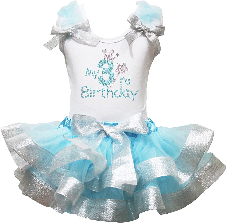 Petitebella Rhinestones My 1st to 6th White Shirt Blue Silver Petal Skirt Outfit