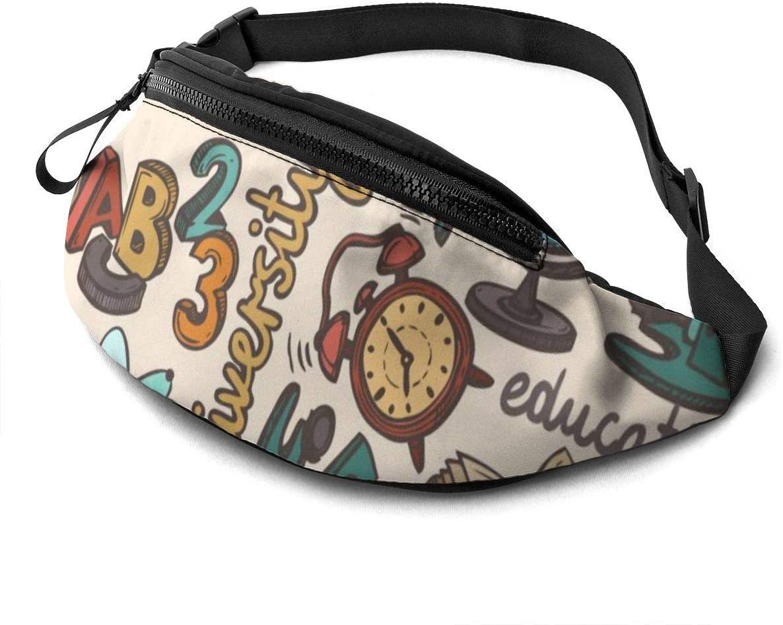 School Pattern Design Fanny Pack For Men Women Waist Pack Bag With Headphone Jack And Zipper Pockets Adjustable Straps