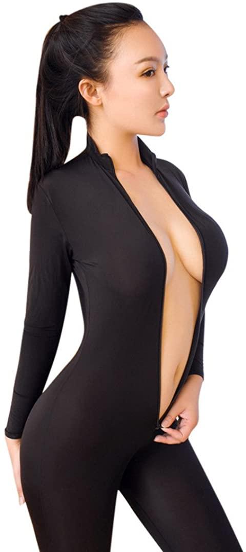 Rambling Women Striped Sexy Bodysuit Zipper Long Sleeve Open Crotch Lingerie Jumpsuit