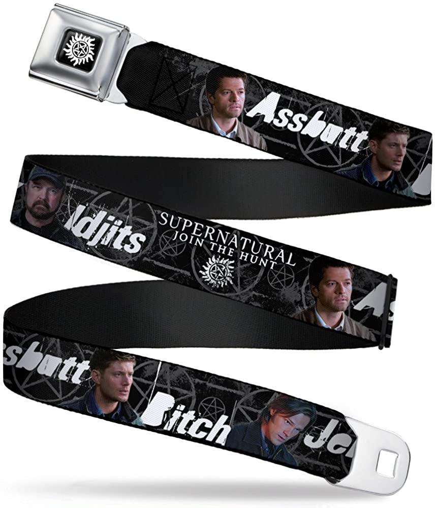 Buckle-Down Seatbelt Belt - SUPERNATURAL 4-Character Poses/ASSBUTT-BITCH-JERK-IDJITS Black/Gray/White - 1.5