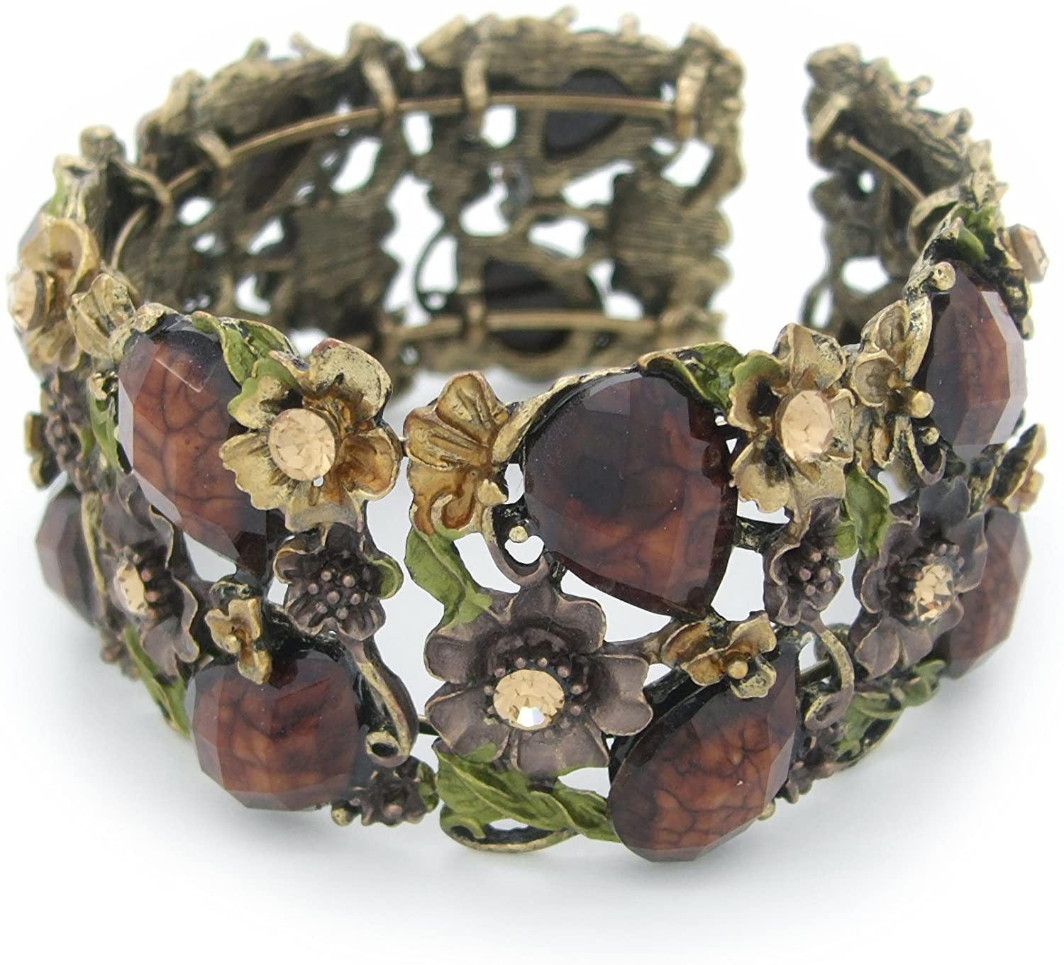 Beautiful Antique Style Burnished Gold and Brown Tone Bangle Cuff Bracelet