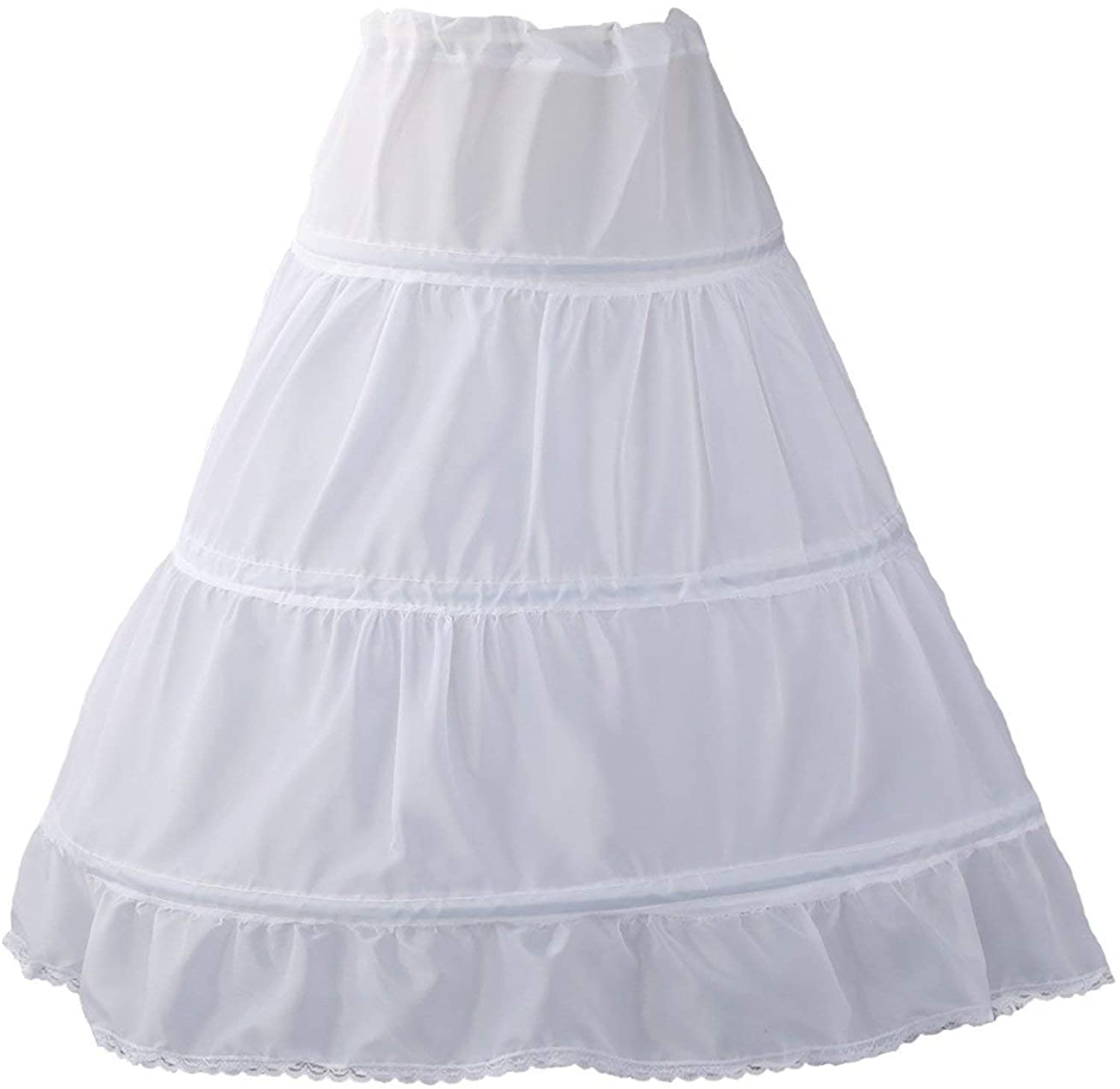 WDE Puffy Crinoline Petticoat Skirt for Girls 3 Hoops Slip for Pageant Dress Gown