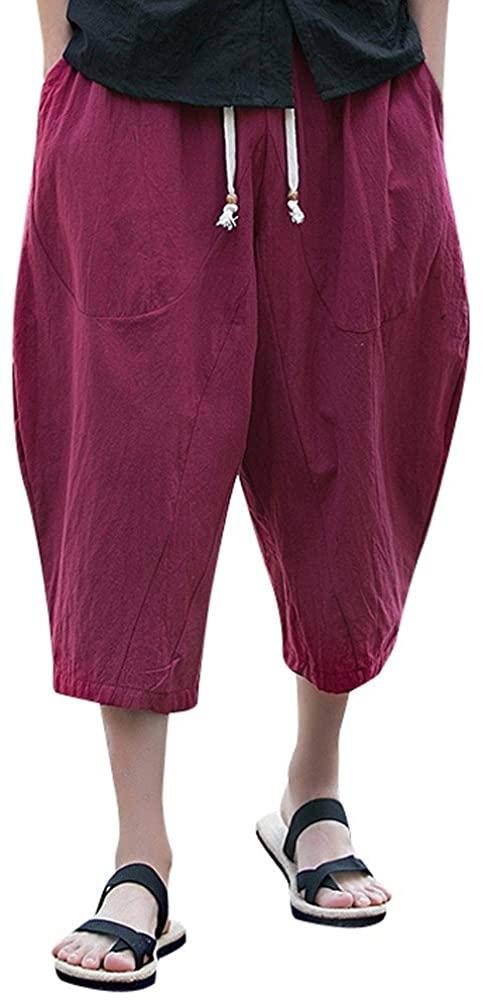 Sumen Men Cotton Linen Wide Leg Pants Breathable Casual Baggy Long Shorts