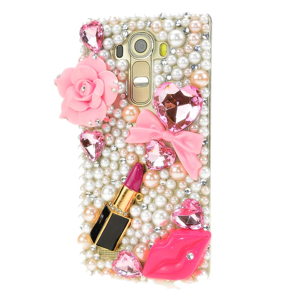 STENES LG Stylo 2 V Case, [Luxurious Series] 3D Handmade Shiny Crystal Sparkle Bling Case With Retro Bowknot Anti Dust Plug - Big Rose Flowers Sexy Lips Lipstick/Pink