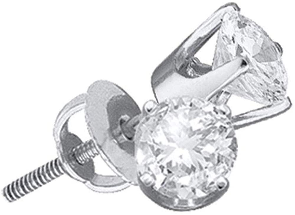 The Diamond Deal 14kt White Gold Unisex Round Diamond Solitaire Stud Earrings 3/4 Cttw