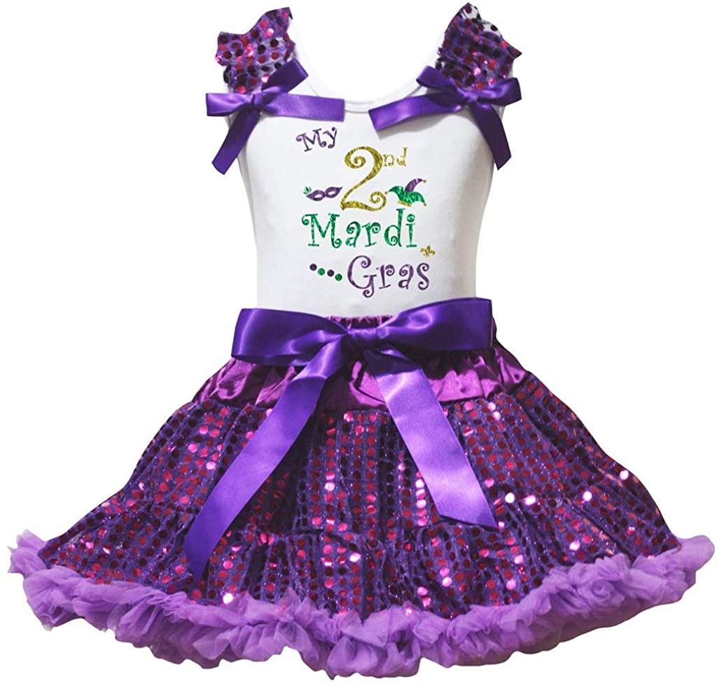 Petitebella My 1st to 6th Mardi Gras Shirt Purple Sequins Petti Skirt Set 1-8y