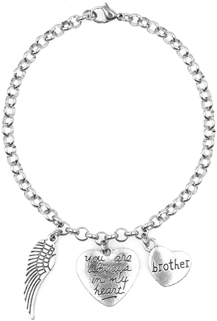 """Adjustable 8.5"""" Stainless Steel Bracelet with You are Always in My Heart Brother and Angel Wing Charms. Personalize with Clip on Charms 69Q"""
