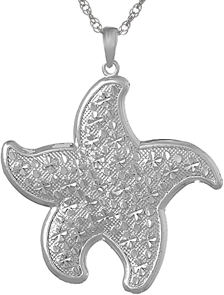 925 Sterling Silver Nautical Necklace Charm Pendant with Chain, Large Starfish Textured and DC